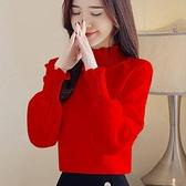 長袖襯衫 襯衫女春秋裝新款韓版寬鬆百搭半高領長袖上衣打底小衫時尚T體恤  夏季新品