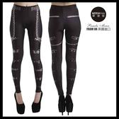 【摩達客】英國進口義大利製Pamela Mann   搖滾金屬皮帶圖紋內搭褲 (打底褲/鉛筆褲)