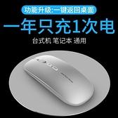 無線藍芽雙模鼠標5.0可充電式辦公靜音電腦無限女生可愛超薄滑鼠適 【全館免運】