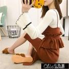 季女裝針織套裝連身裙韓版中長款背帶毛衣裙子兩【快速出貨】