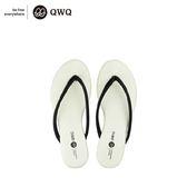QWQ創意鞋-摩登白 皮感編織人字拖鞋-(PU系列 )