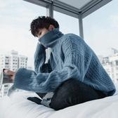 寬鬆毛衣 西西里男裝慵懶風冬季加厚款白色寬鬆男士麻花高領毛衣男韓版 小天後