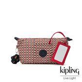Kipling 紅褐火柴棒幾何圖騰附隨身鏡化妝包-ART POUCH