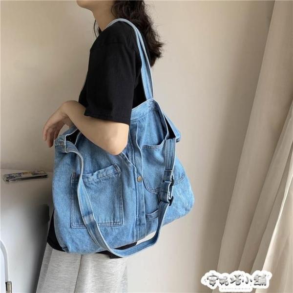 ins帆布包 日系韓版古著感女學生單肩包文藝范牛仔布布袋側背女包 夏季特惠