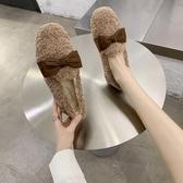 毛毛鞋 毛毛鞋女外穿秋冬平底羊羔毛豆豆鞋蝴蝶結孕婦加絨棉瓢鞋-Ballet朵朵