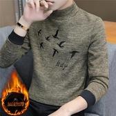 冬季半高領t恤男長袖男士加絨打底衫韓版潮流加厚保暖上衣服秋衣