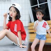 女童洋氣t恤短袖夏新款韓版中大童純棉個性潮兒童秋體恤上衣