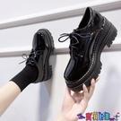 皮鞋 英倫風日系加絨小皮鞋女2021冬季新款百搭厚底黑色復古單鞋 618狂歡