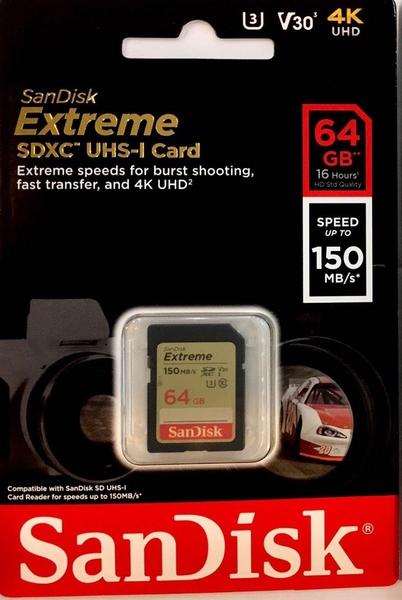 SanDisk Extreme SDXC-64Gb 150mb/s U3 V30 UHS-I 4K 64G【公司貨終身保固】SDXV6