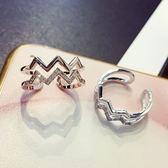 戒指 925純銀 鑲鑽-雙層心跳生日母親節禮物女開口戒2色73dv28【時尚巴黎】