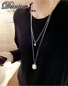 項鍊 現貨 韓國時尚氣質簡約百搭 雙層幾何扭轉纏繞珍珠鋯石 長項鍊 S2369 批發價 Danica 韓系飾品
