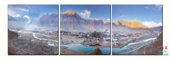 無框畫裝飾畫三聯西藏世界風景畫客廳辦公室沙發背景掛畫