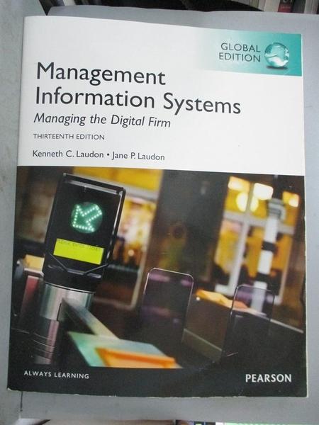 【書寶二手書T1/大學商學_QJJ】Management Information Systems_Kenneth Laudon . Jane P. Laudon