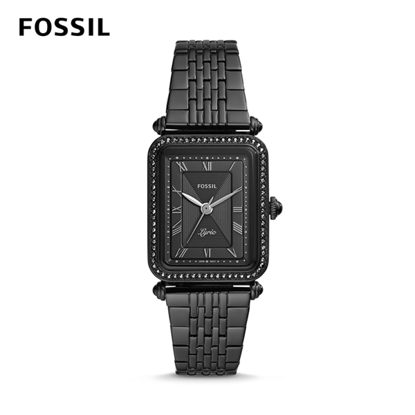 FOSSIL LYRIC 個性女子的搖滾時代石英腕錶-黑不銹鋼鍊帶 28MM ES4722