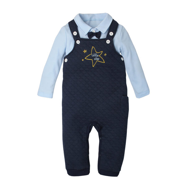 長袖套裝 兩件式 領結上衣 吊帶褲 連身衣 男寶寶 女寶寶 爬服 哈衣 Augelute Baby 70001
