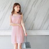 《DA4660》純色美背造型腰鬆緊雪紡細肩帶洋裝.2色 OrangeBear