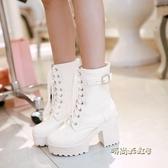 春秋冬季單靴子女鞋超高跟粗跟繫帶馬丁靴英倫風40短靴41大碼43白「時尚彩紅屋」