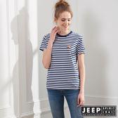 【JEEP】舒適狐狸造型條紋短袖TEE-男女適穿-藍