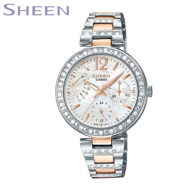 CASIO SHEEN 玫瑰金水鑽雲母貝殼面逆跳星期日期鋼帶女錶x32mm・SHE-3043SG-7A|名人鐘錶高雄門市