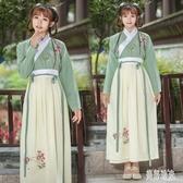 新款夏季漢服女日常改良漢元素古裝民族風齊胸交領襦裙刺繡演出服半身長裙 zh7914『美好時光』