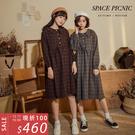 長袖 洋裝 Space Picnic|毛呢格紋襯衫領排扣洋裝(現+預)【C19113002】
