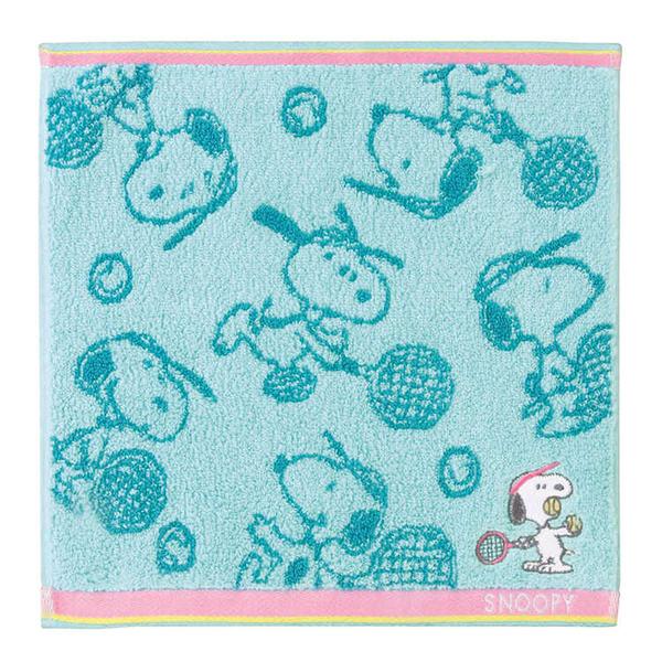 KAMIO 100%純棉方巾 洗臉巾 擦手巾 手帕 SNOOPY 網球 綠_KM21606