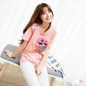 OrangeBear《AB0827》童趣氣球燙印綴刺繡珠飾側擺開衩棉感T恤.2色--適 XL~5L