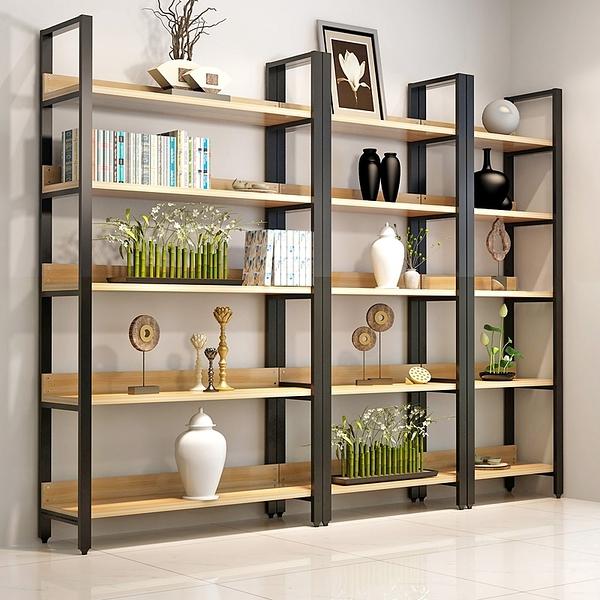 家用鋼木書架書櫃置物架書架多層書櫥組合收納架儲物櫃貨架展示架