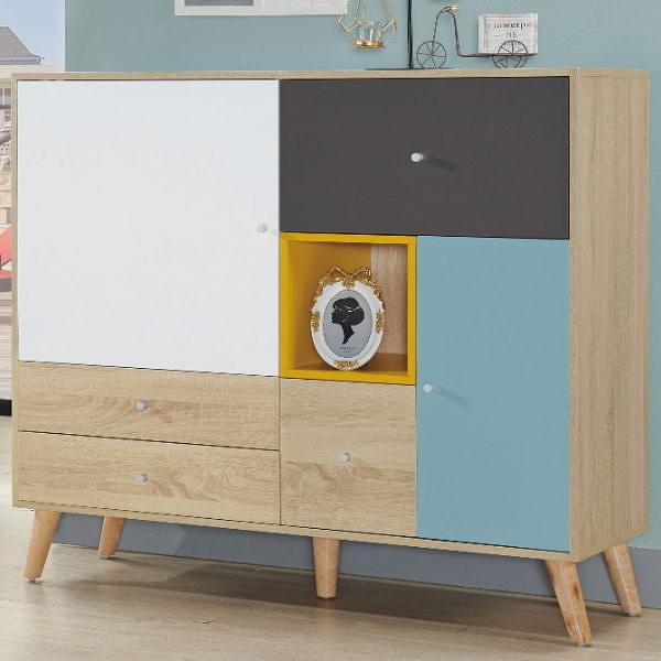 櫥櫃 餐櫃 QW-427-3 萊茵4尺四抽二門置物櫃【大眾家居舘】