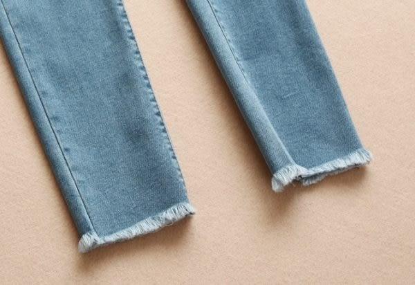 ☆莎lala 【K605089】日系刷破牛仔褲-(現)鬆緊單寧鉛筆褲(SIZE:M.L.XL)