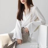 雪紡襯衫女長袖春裝2021新款寬鬆韓版設計感小眾上衣喇叭袖白襯衣 范思蓮恩