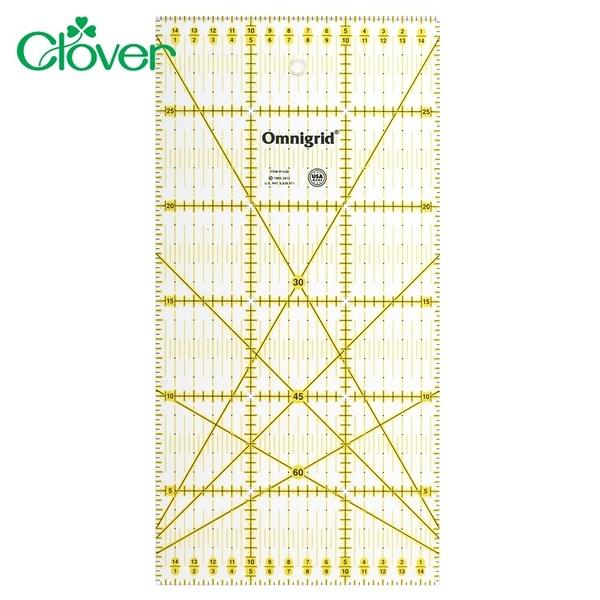 耀您館|美國製日本Clover可樂牌雙色拼布尺15×30cm定規尺57-622洋裁平行線30°45°60°斜角分色線條尺