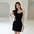 無袖洋裝小禮服 2021新款韓版性感斜肩V領無袖修身顯瘦包臀連身裙女人味吊帶短裙