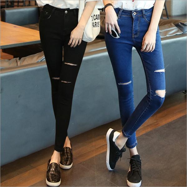 韓版 刷破牛仔褲 破損 鉛筆褲 顯瘦 毛邊 貼腿 單寧牛仔褲 丹寧牛仔長褲 內搭褲