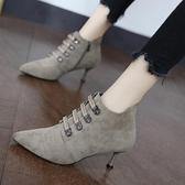 裸靴 初秋小短靴百搭駝色細跟絨面潮高跟鞋2020新款馬丁靴子女網紅流行 降價兩天