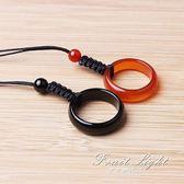 掛飾天然紅黑瑪瑙指環戒指 手機錬飾品 水晶平安扣吊墜環掛件 果果輕時尚