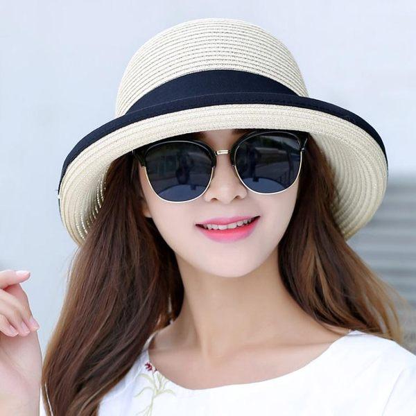 草帽韓版遮陽帽夏季可折疊太陽帽LJ5507『黑色妹妹』