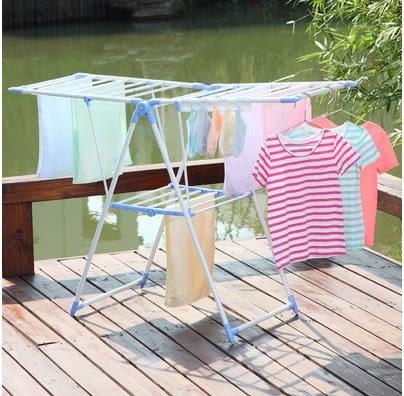 小熊居家晾衣架落地折疊室內曬衣架毛巾架嬰兒晾衣架尿布架防鏽  藍色特價
