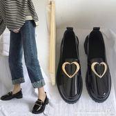 百搭小皮鞋女學生原宿英倫風中跟樂福鞋粗跟單鞋 水晶鞋坊