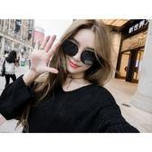 現貨-韓版ulzzang時尚百搭太陽眼鏡明星同款墨鏡大框時尚貓眼眼鏡百搭圓臉優雅新款太陽眼鏡男女