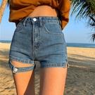牛仔短褲 2021年夏季新款高腰顯瘦黑色寬鬆直筒百搭牛仔短褲子熱褲女裝ins 韓國時尚 618