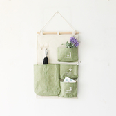 ✭慢思行✭【P284】多功能簡約4個掛袋 收納袋 懸掛 家具 置物 帆布 壁掛式 襪子 包包