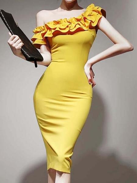 禮服 單肩禮服女宴會名媛氣質OL褶皺包臀修身顯瘦斜肩洋裝2020新款夏