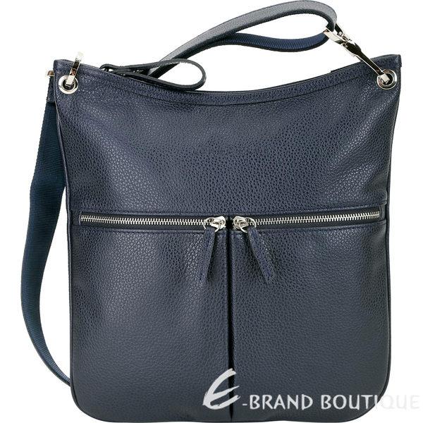 LONGCHAMP Le Foulonne 荔紋小牛皮雙拉鍊口袋斜背包(海軍藍) 1910160-34