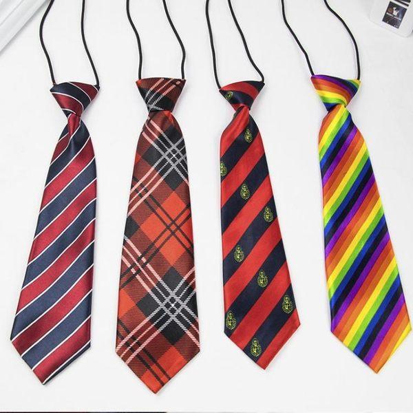 男童領帶兒童節目表演配件男孩斜紋藏青紅色圖案條紋小領帶  范思蓮恩