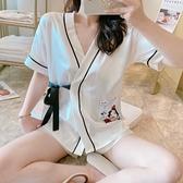和服睡衣女夏季冰絲短袖真絲綢兩件套裝可愛網紅爆款春秋家居服薄錢夫人小舖