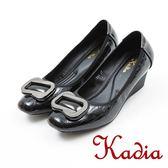 ★2017秋冬新品★kadia.經典優雅質感方扣楔型鞋(7549-98黑)
