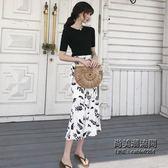 針織衫半袖上衣 印花魚尾半身裙兩件套時尚套裝女裝