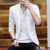 男士中袖西服夏季韓版條紋七分袖小西裝男個性鏤空修身超薄款外套 3c優購