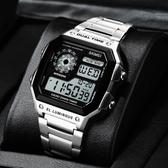 卡家西歐電子手錶男小方塊運動青少年中大學生潮方形手錶男機械錶 智慧e家